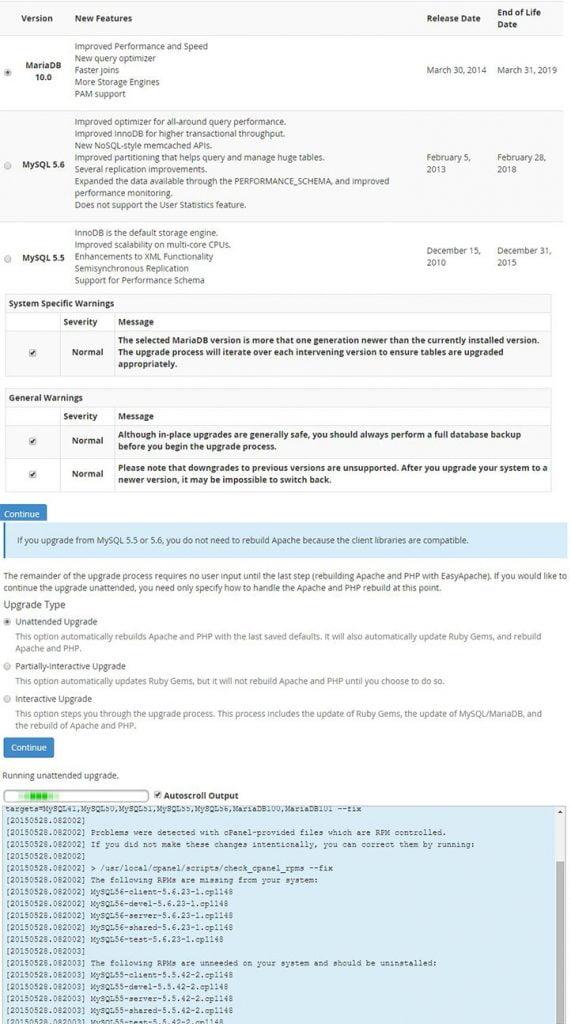 Cpanel MariaDB Ayarları