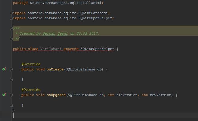 Android Java Class Olusturma